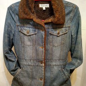 Marvin Richards Denim Jacket Faux Fur Womens Lg